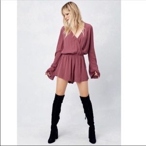 Love Stitch Plum Berry Long Bell Sleeve Wrap Front